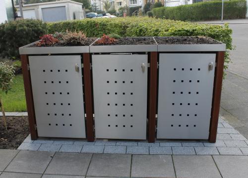 Mülltonnenbox-Dachbepflanzung: Schicke Verkleidung unansehnlicher Mülltonnen